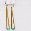 Long Gold Bar Blue Apatite Earrings