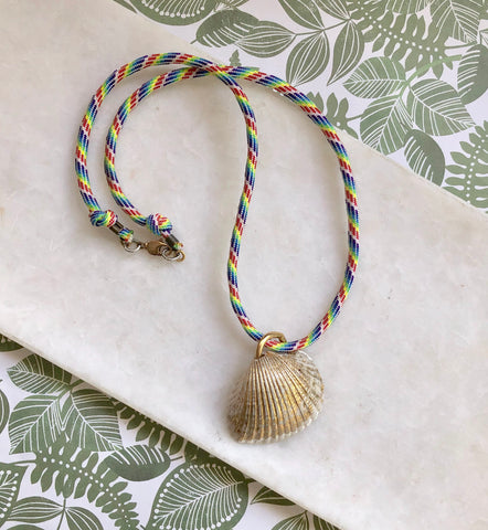 Gold Shell Necklace I Rainbow Cord