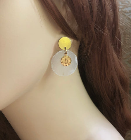 Gold Coin White Dangle Earrings