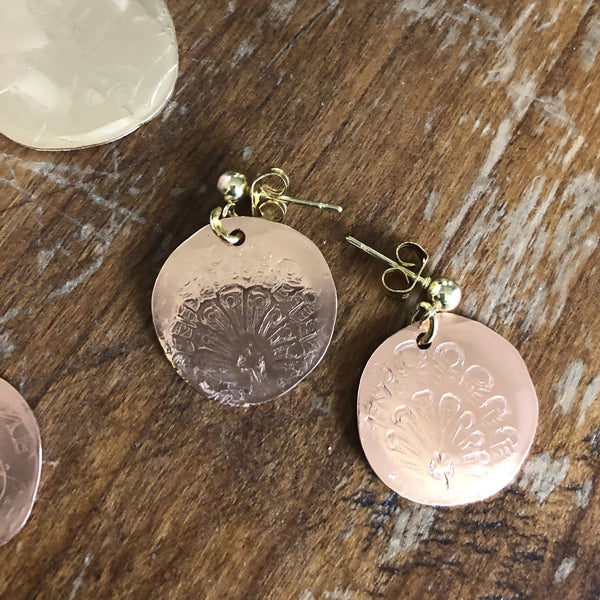 Rose Gold Charm Earrings with Peacock