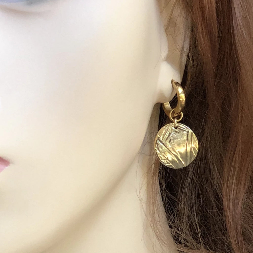 Gold Hoop Earrings I Embossed Deco Charm