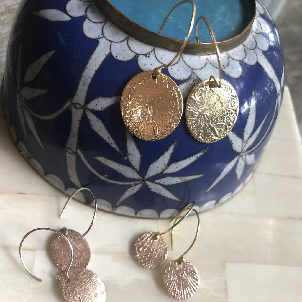handmade gold coin earrings by laura james jewelry