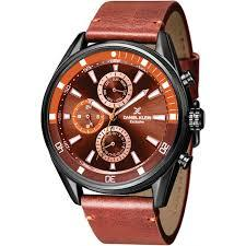 DANIEL KLEIN 11282-4 LEATHER BAND ANALOG CHRONO WATCH- BROWN - Marheba