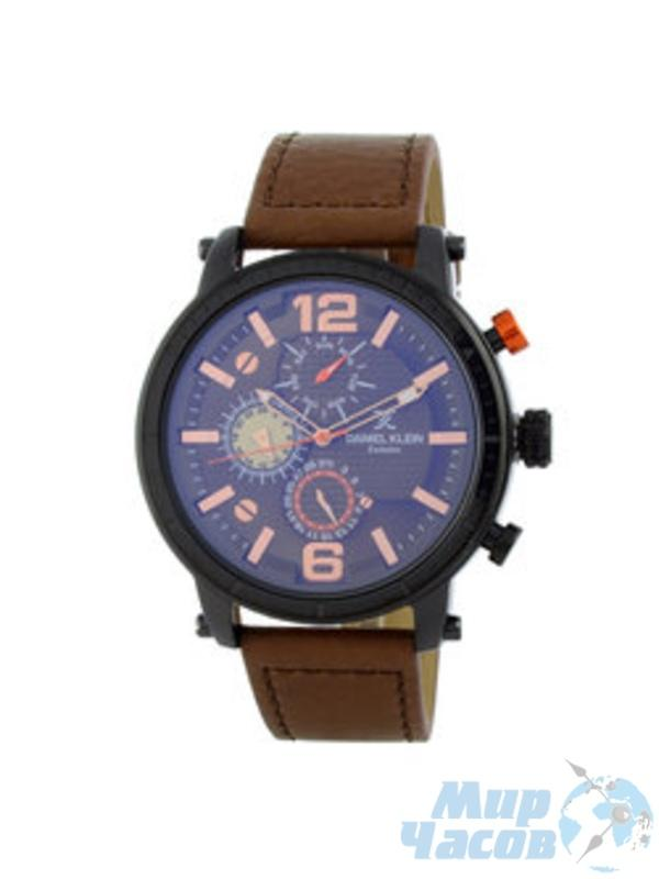 Daniel Klein 11417-3  Leather Band Analog Chrono Watch - (Brown)