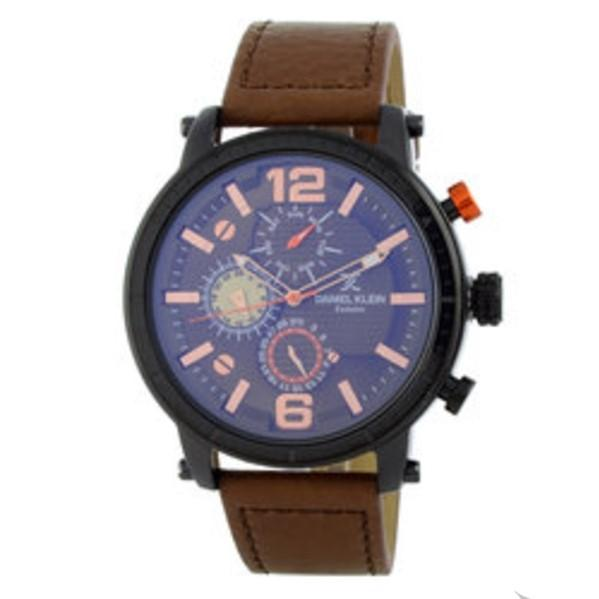 Daniel Klein 11417-3  Leather Band Analog Chrono Watch-(Brown) - Marheba
