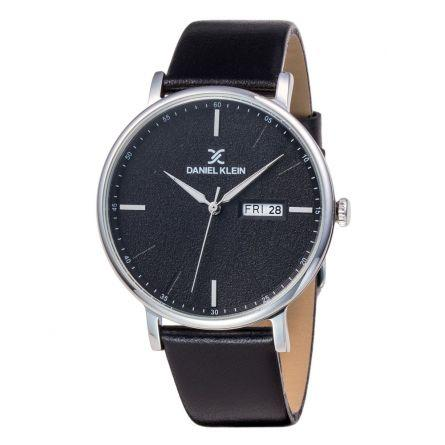 Daniel Klein 11825-2 Leather Band Analog Watch -(Black)