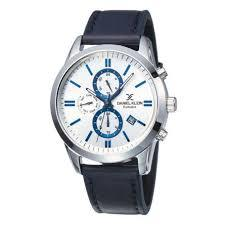 Daniel Klein 11845-6 Leather Band Analog Chrono Watch- Blue. - Marheba