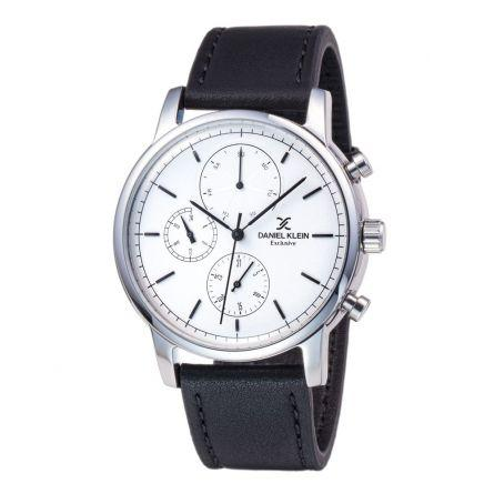Daniel Klein 11852-1 Leather Band Analog Watch -(Black)