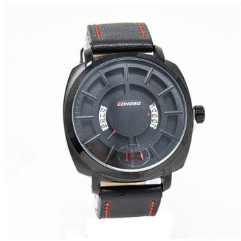 Longbo Mens Unique Leather Band Strap Quartz Watches- Black - Marheba
