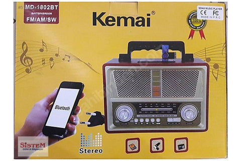 Kemai md-1802 Bt Micro Sd Usb Fm Bluetooth Radio - Marheba