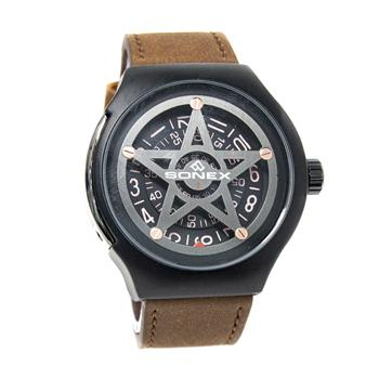 Sonex Watch Leather Band Seven Friday Model For Men-Brown - Marheba