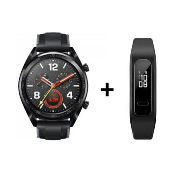 Huawei FTNB19 Smart Watch Fortuna Black + Huawei AW70 B3e Fitness Tracker Black - Marheba