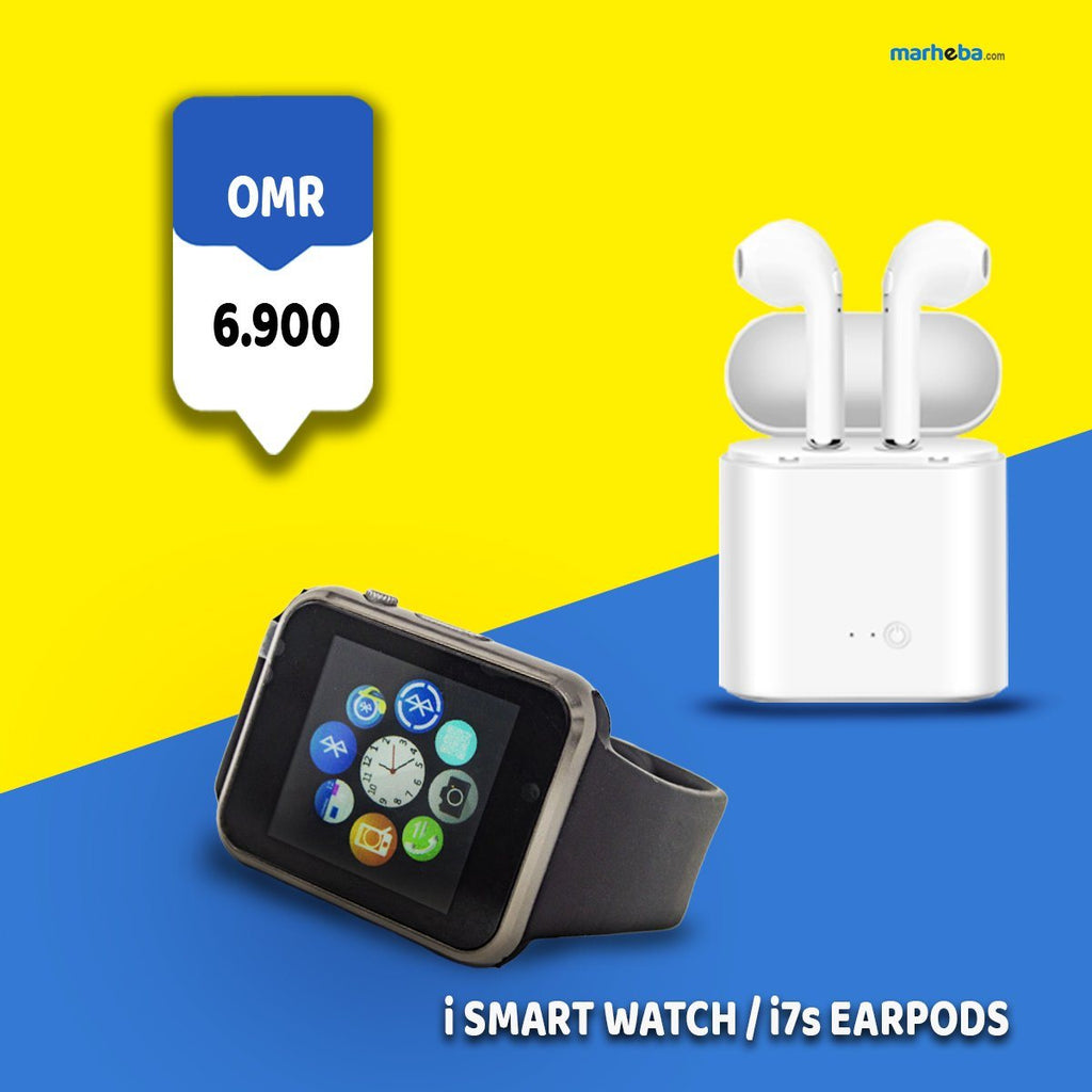 HBQ I7s Twin Earphones & iSmart Watch Combo Pack 50% off - Marheba