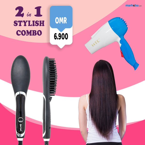 HTC-330 Hair Dryer & Gemei Professional Hair Straightener GM-2972 (2 in 1 Combo Pack)