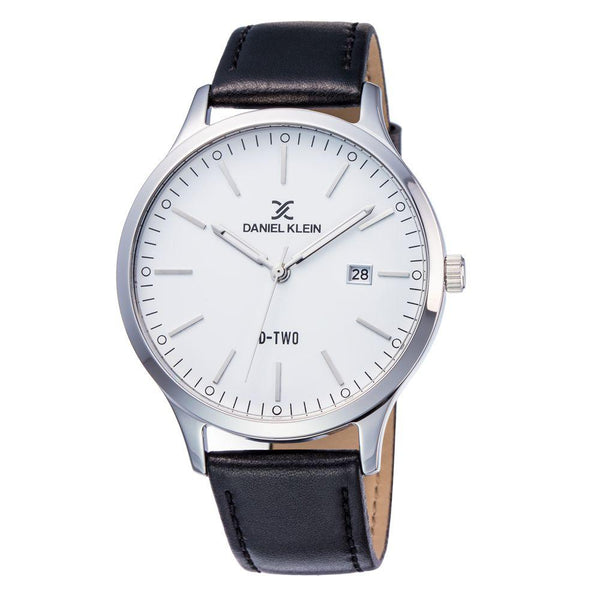 Daniel Klein 11920-3 Leather Band Analog Watch -(Black)
