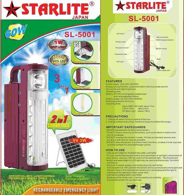 Stargold Japan Rechargeable Emergency Light SG - 5001
