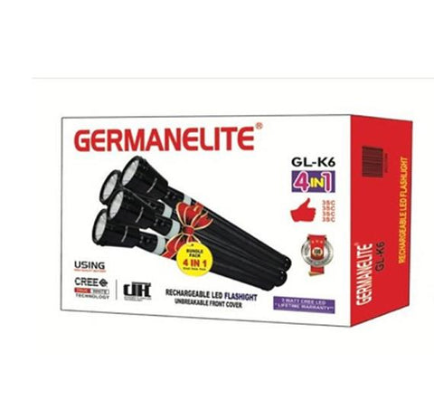 Germanelite 4 in 1 Rechargeable LED Flashlight GL-K6 - Marheba