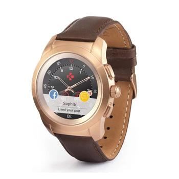 MyKronoz ZeTime Petite Premium Brushed Pink Gold/Brown Vintage Leather - Marheba