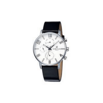 Daniel Klein 11850-1  Leather Band Analog Chrono Watch-(Black)