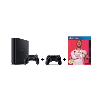 Sony PS4 Slim Gaming Console 1TB Black + FIFA 20 Game + Extra Controller - Marheba