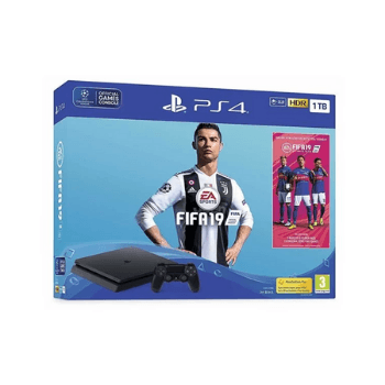 Sony PS4 Slim Gaming Console 1TB Black With FIFA19 Game - Marheba