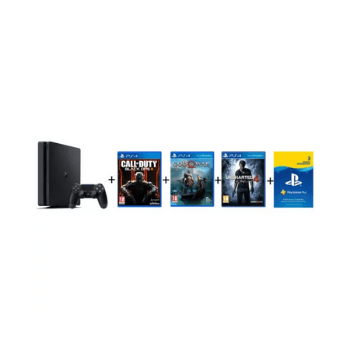 Sony PS4 Slim Gaming Console 500GB Black + Call Of Duty Black OPS III + God of War + Uncharted 4 + 3 Month Playstation Plus Membership - Marheba