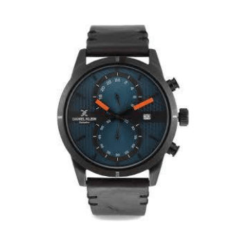 Daniel Klein 11360-3  Leather Band Analog Chrono Watch -(Black) - Marheba