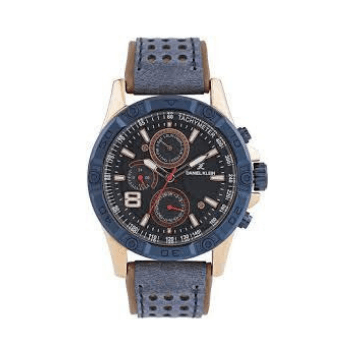 Daniel Klein 11074-7 Leather Band Analog Chrono Watch-(Blue) - Marheba
