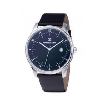 Daniel Klein 11913-3 Leather Band Analog Watch-(Black)