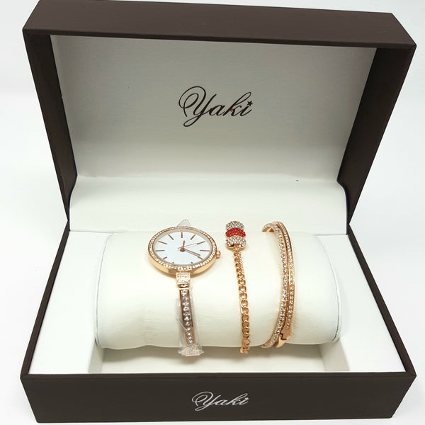 Al-Yaki 9371 Ladies Set Watches-(Rose Gold) - Marheba