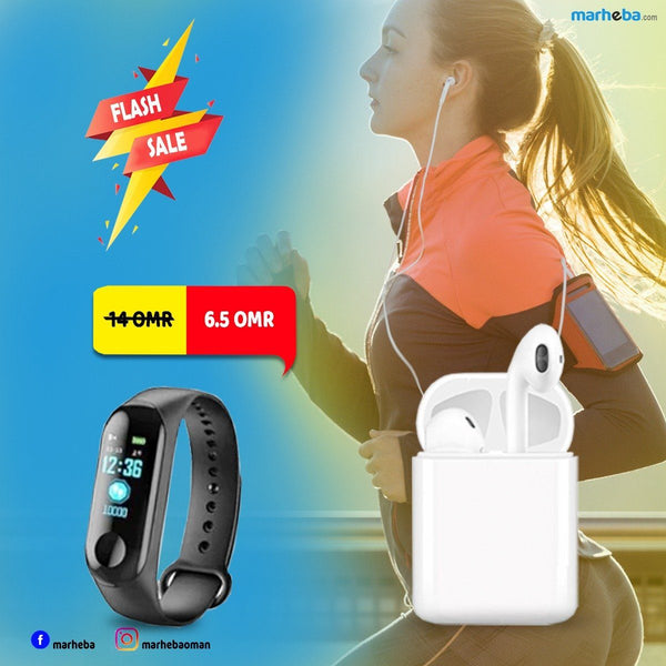 HBQ I7s Twin Earphones &Intelligence M3 Health Bracelet Combo Pack 54% OFF - Marheba