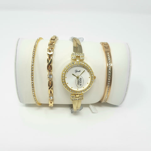 Al-Yaki 9371 Ladies Set Watches-(Gold) - Marheba