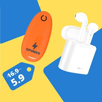 HBQ I7s Twin Earphones & GPower Bank G203 Combo Pack 65% Off - Marheba
