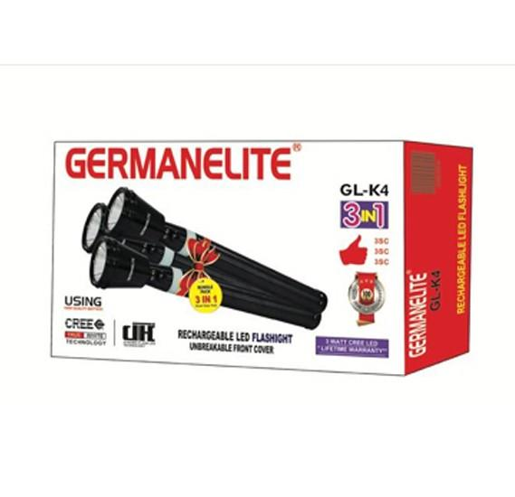 Germanelite 4 in 1 Rechargeable LED Flashlight GL-K4 - Marheba