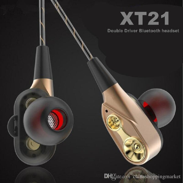 XT-21 Wireless Bluetooth Earphone Double Speaker Safe Driver Earbuds Headset HIFI Stereo- BLACK - Marheba