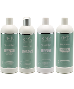 KMB Salon Great Hair Amino Acid Restructuring Conditioner Kit: The kit that allows you to give your clients the looks they desire to have.  Treat customers damage and stop the breakage. (Pure Shine Silkener not included in image and Backbar comes with an 8oz foamer bottle.)