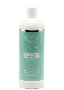 KMB Great Hair Clarifying Shampoo is a hair and scalp cleanser that removes dirt, styling products residue, and mineral deposits from the hair.  It is formulated with green tea extracts.