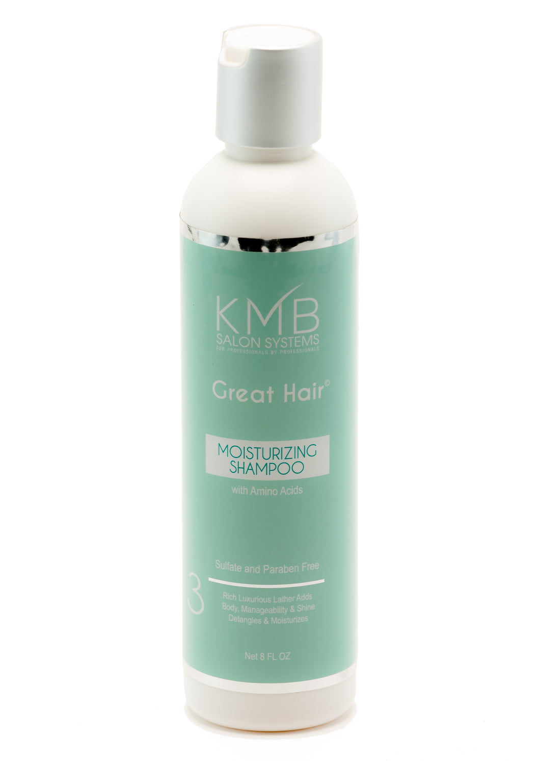 Great Hair Moisturizing Shampoo is paraben free and replenishes moisture to the hair and provides softening agents for manageability.
