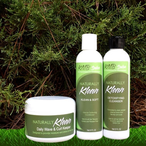 KMB Salon Naturally Klean and Soft At Home Trio is designed to let the purchaser maintain their natural hair.  From the Naturally Klean for detoxifying hair to the Klean & Soft Conditioner and the Wave and Curl Keeper, it is the complete at home ensemble of products.