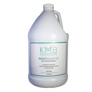 KMB MoistShampoo Anti-Drying Formula removes topical buildupon the hair caused by styling products, environmental pollutants and an active lifestyle without dryness. MoistShampoo incorporates wheat protien, lavender, chamomile, vitamins A and E with silk amino acids to clean, soften and provide moisture while detangling the hair.