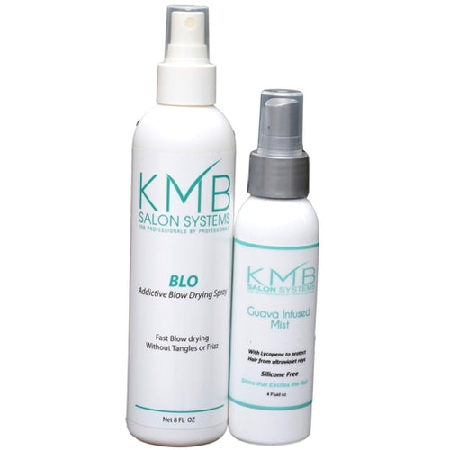 KMB Salon Blo Addictive Blow Drying Spray is formulated with enriched amino acids that provide a PH balance for detangling the most tightly coiled hair. KMB Salon Guava Shine Mist contains vitamins B and C to prevent hair surface damage.The KMB Styling duo features an 8 ounce KMB Blo and a KMB Guava Mist in a 4 ounce size.