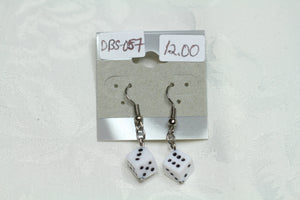 White Dice Earrings