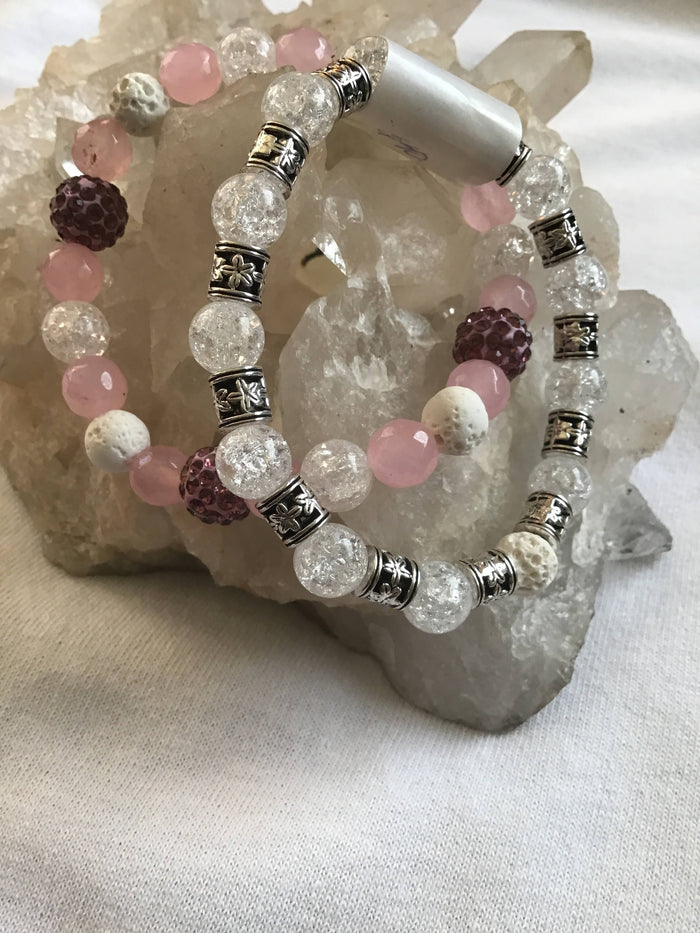 Pink Quartz Crystal Bracelet Duo