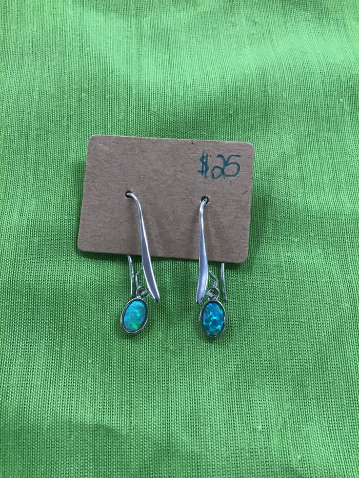 Silver toned and opal coloured stone earrings
