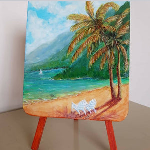 Mini Easel Painting - Tropical Scene