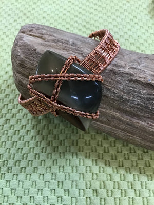 Copper Wire Wrapped Jasper Cabachon Bracelet