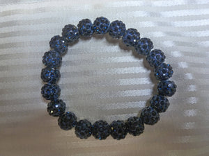 Dark Blue Sparkly Ball Stretch Bracelet