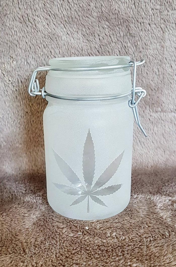 Etched Cannabis Storage Jar