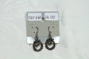 Antique Silver Christmas Wreath Earrings