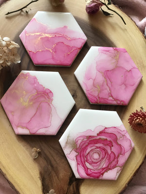 VitatiungArt Coasters Set Pink and Gold Set